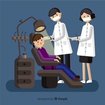 Flacher hintergrund der zahnarztkonsultation