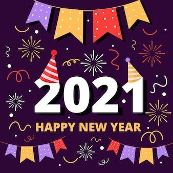 Flacher hintergrund des neuen jahres 2021