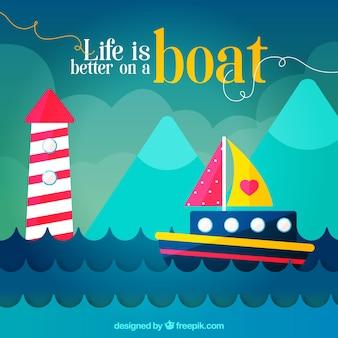 Flacher hintergrund mit farbigem boot und leuchtturm