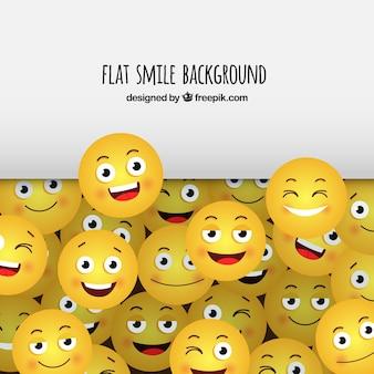 Flacher hintergrund mit gelben smileys