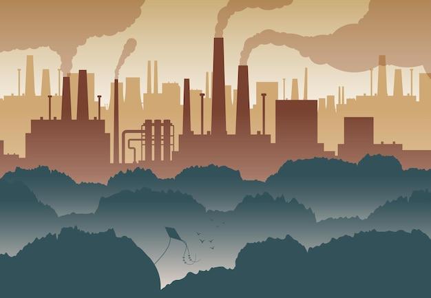 Flacher hintergrund mit grünen bäumen und zahlreichen fabrikschornsteinen, die die luft verschmutzen