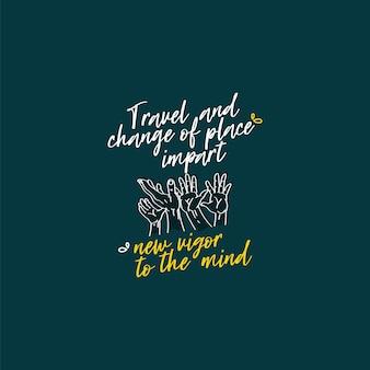 Flacher hintergrund mit typografischer zitatreise der reise