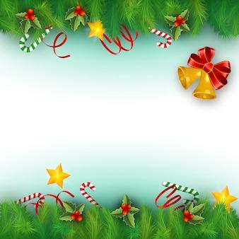 Flacher hintergrund mit weihnachtsbaumzweigen und verschiedenen dekorationen vektorillustration