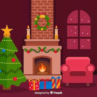 Flacher hintergrund weihnachtskamin