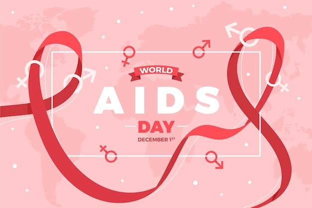 Flacher hintergrund zum welt-aids-tag