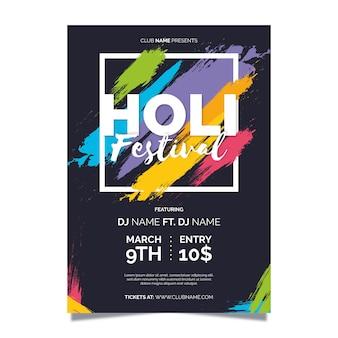 Flacher holi festivalflieger / festivalplakat