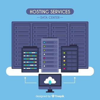 Flacher hosting-service-hintergrund