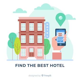 Flacher hotelbuchungshintergrund