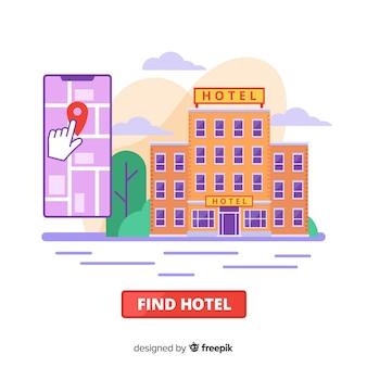 Flacher hotelbuchungskonzepthintergrund