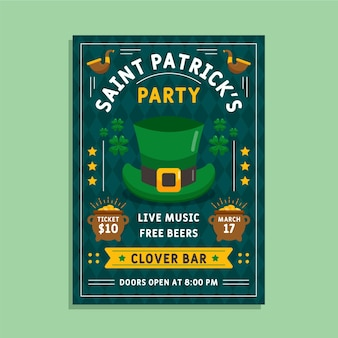 Flacher hut st. patrick's day flyer vorlage