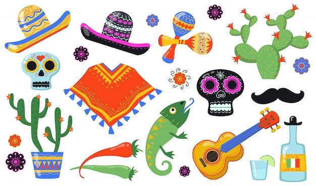 Flacher icon-satz verschiedener mexikanischer symbole