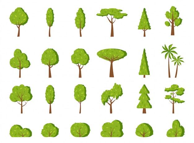 Flacher ikonensatz des grünen sommerbaumblattstrauchs