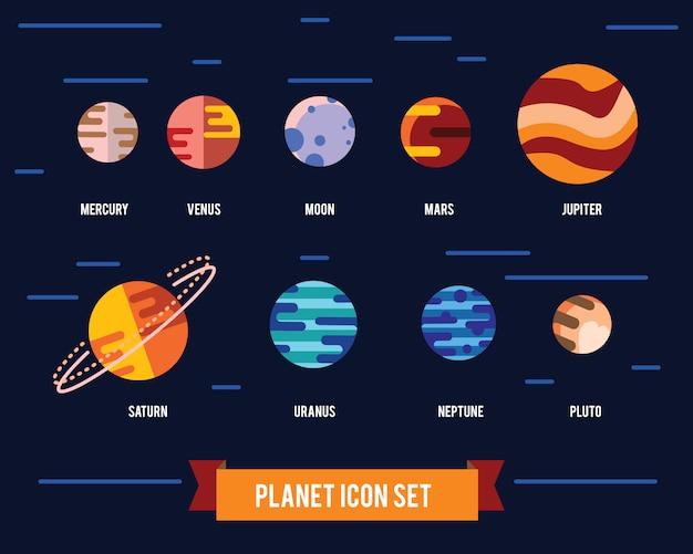 Flacher ikonensatz des sonnensystems planeten, sonne und mond auf dunklem raumhintergrund.