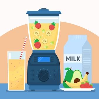 Flacher illustrations-smoothie im mixerglas