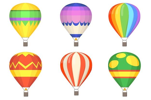 Flacher illustrationssatz der heißluftballons. karikatur bunte luftballons mit körben isolierte vektorillustrationssammlung. flug-, himmel- und sommerkonzept
