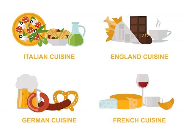 Flacher illustrationssatz des feinen traditionellen lebensmittels des küchemittagessens.