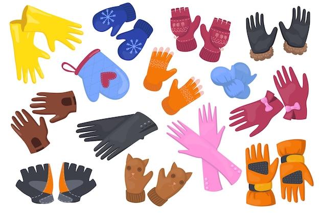 Flacher illustrationssatz mit verschiedenen handschuhen. karikaturschutzpaar fäustlinge, handschuhe für hände lokalisierte vektorillustrationssammlung. winteraccessoires und designkonzept