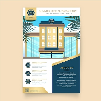 Flacher illustrierter hotelinformationsflyer