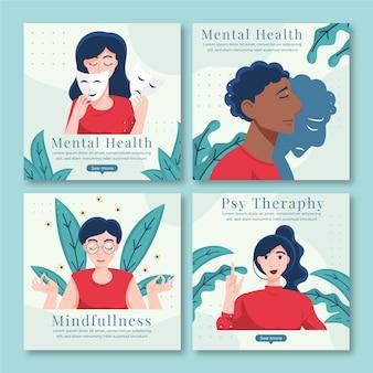 Flacher instagram-beitrag zur psychischen gesundheit