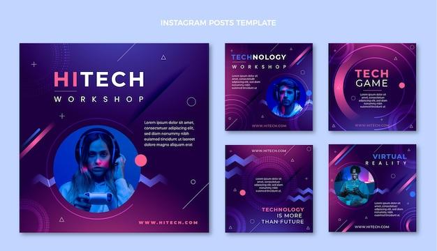 Flacher instagram-post mit minimaler technologie