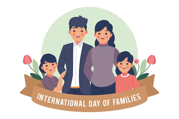 Flacher internationaler tag der familien
