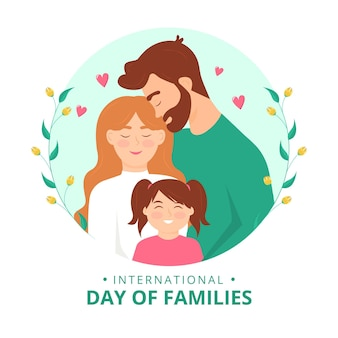 Flacher internationaler tag der familienillustration