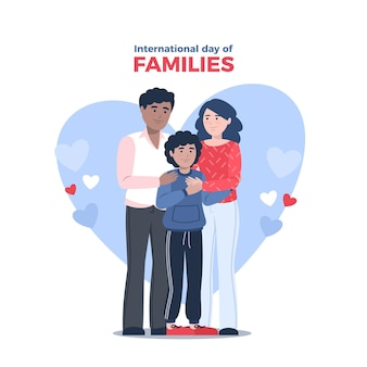 Flacher internationaler tag der familienillustration