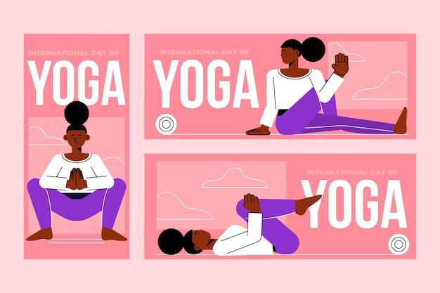 Flacher internationaler tag der yoga-banner gesetzt