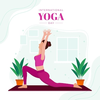 Flacher internationaler tag der yogaillustration