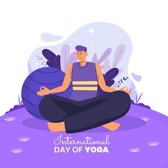 Flacher internationaler tag der yogaillustration