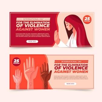 Flacher internationaler tag zur beseitigung von gewalt gegen frauen horizontale banner gesetzt