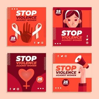 Flacher internationaler tag zur beseitigung von gewalt gegen frauen instagram-posts-sammlung