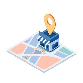 Flacher isometrischer 3d-einkaufsladen auf der karte mit gps-navigation. gps-navigation und standortkonzept.