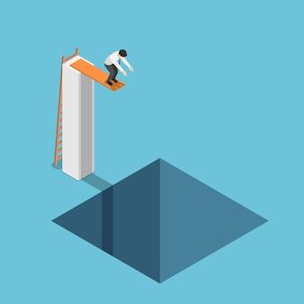 Flacher isometrischer 3d-geschäftsmann am höchsten punkt, der bereit ist, in das loch zu springen. depressives und geschäftsausfallkonzept.