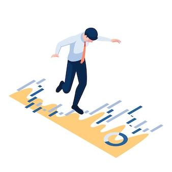 Flacher isometrischer 3d-geschäftsmann, der auf finanzdiagramm geht und balanciert. geschäfts- und finanzkonzept.