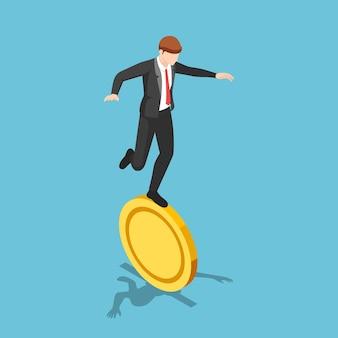Flacher isometrischer 3d-geschäftsmann, der auf goldener münze balanciert. finanzielles risiko und instabiles konzept.