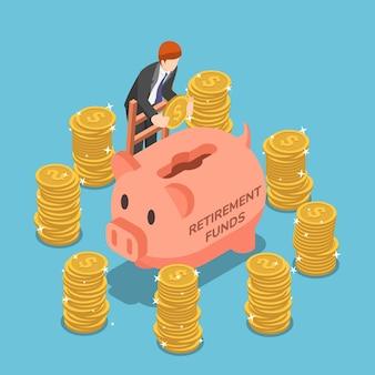 Flacher isometrischer 3d-geschäftsmann, der geld im sparschwein spart. rentenfonds und finanzkonzept.