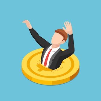 Flacher isometrischer 3d-geschäftsmann, der in goldene dollarmünze ertrinkt. finanzkrise und schuldenkonzept.