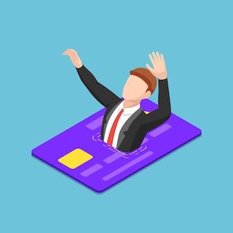 Flacher isometrischer 3d-geschäftsmann, der in kreditkarte ertrinkt. finanzkrise und schuldenkonzept.
