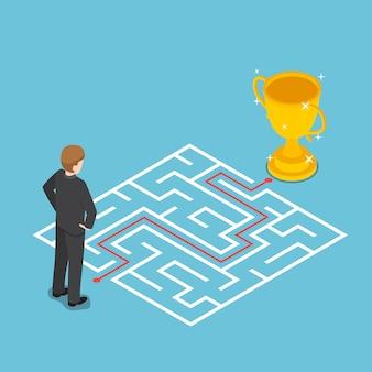 Flacher isometrischer 3d-geschäftsmann, der labyrinth mit lösung betrachtet. geschäftslösungskonzept.