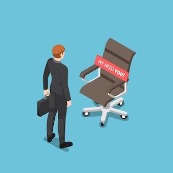 Flacher isometrischer 3d-geschäftsmann, der mit ceo-stuhl steht und wir brauchen ihre nachricht. einstellungs- und rekrutierungskonzept für unternehmen.