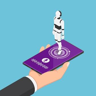 Flacher isometrischer 3d-geschäftsmann, der smartphone mit ai-roboter-assistent und spracherkennungssymbol hält. konzept für künstliche intelligenz und sprachassistent.