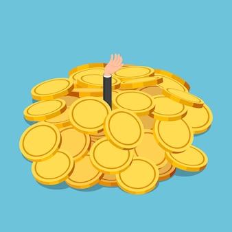 Flacher isometrischer 3d-geschäftsmann ertrunken im goldmünzenhaufen. finanzkrise oder geschäftserfolgskonzept.