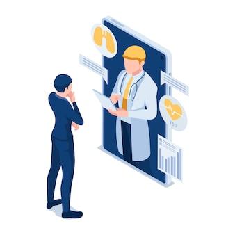 Flacher isometrischer 3d-geschäftsmann hat eine online-beratung mit dem arzt. konzept für telemedizin und medizinische online-beratung.