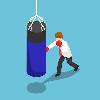 Flacher isometrischer 3d-geschäftsmann stanzt den blauen boxsack. business-training-konzept.