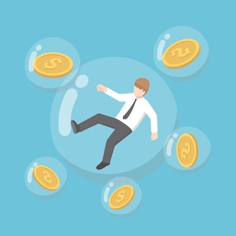 Flacher isometrischer 3d-geschäftsmann und dollarmünze, die in blasen schweben. inflation konzept.
