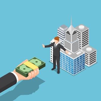 Flacher isometrischer 3d-geschäftsmann verkauft sein geschäftsgebäude nicht. geschäftsvermögen und immobilienkonzept.