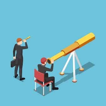 Flacher isometrischer 3d-geschäftsmann verwendet ein größeres teleskop als seine rivalen-geschäftsvision und -konzept