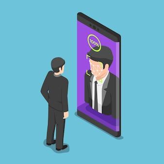 Flacher isometrischer 3d-geschäftsmann verwendet gesichtsscannen, um das smartphone zu entsperren. konzept des biometrischen identifikations- und gesichtserkennungssystems.