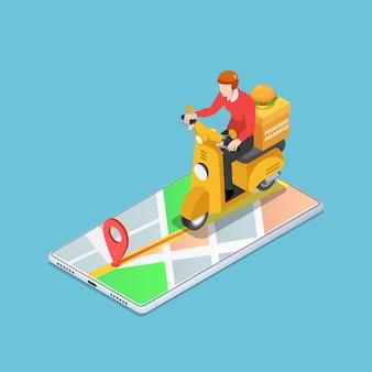 Flacher isometrischer 3d-liefermann fährt motorrad auf dem smartphone mit gps-navigation